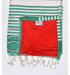 Strandtuch Doppelte Schwamm dunkelgrün, rot