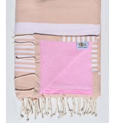 Strandtuch verdoppelte Schwamm rosa Beige und pink