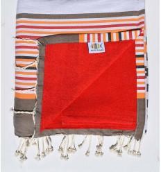 Strandtuch verdoppelt Schwamm 5c rot, korund beige, orange, schwarz