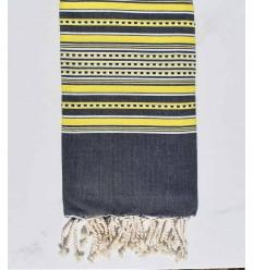 Strandtuch Arabeske Mitternachtsblau mit gelben Streifen