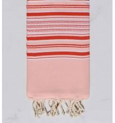 Strandtuch Arabeske rosa baby mit roten streifen