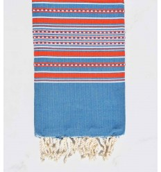 Strandtuch Arabeske blauer Denim mit roten streifen