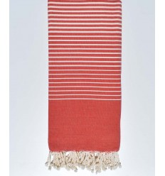 Bettüberwurf rot mit Ecru-Streifen