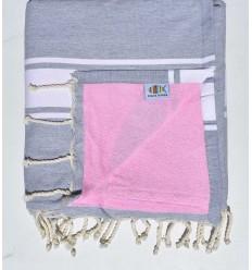 Strandtuch Doppelte Schwamm hellgrau und pink