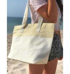 Strandtasche Strandtuch Ecru Farbe mit goldenem Lurex