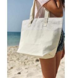 Strandtasche Strandtuch Ecru Farbe mit Silber Lurex