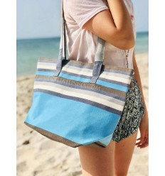 Strandtasche Strandtuch 5 farben blauer Himmel, weiße, graue, orange, braune und blaue Jeans