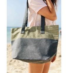 Strandtasche Strandtuch dunkelgrau Farbe mit goldenem Lurex