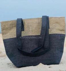 Strandtasche Strandtuch Marineblau Farbe mit goldenem Lurex