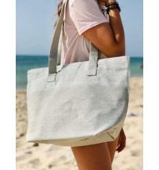 Strandtasche Strandtuch hellgrau Farbe mit Silber Lurex