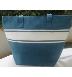 Strandtasche fouta blau gebunden