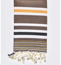 Strandtuch Dina braun mit senfgelben, weißen und schwarzen Streifen