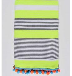 serviette de plage jaune fluo rayé blanc et gris