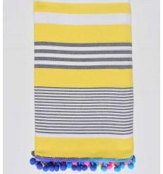 Strandtuch gelb gestreift weiß und grau