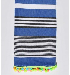 Strandtuch blau gestreift weiß und schwarz