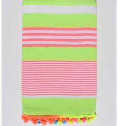 Strandtuch neongrün gestreift weiß und pink