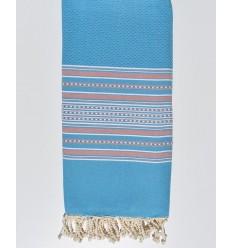 Bettwäsche arabeske hellblau gestreiftes blassrosa
